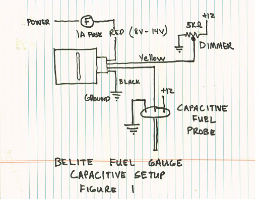 manual for new universal led fuel gauge from belite electronics capacitive probe fuel tank wiring diagram figure 1