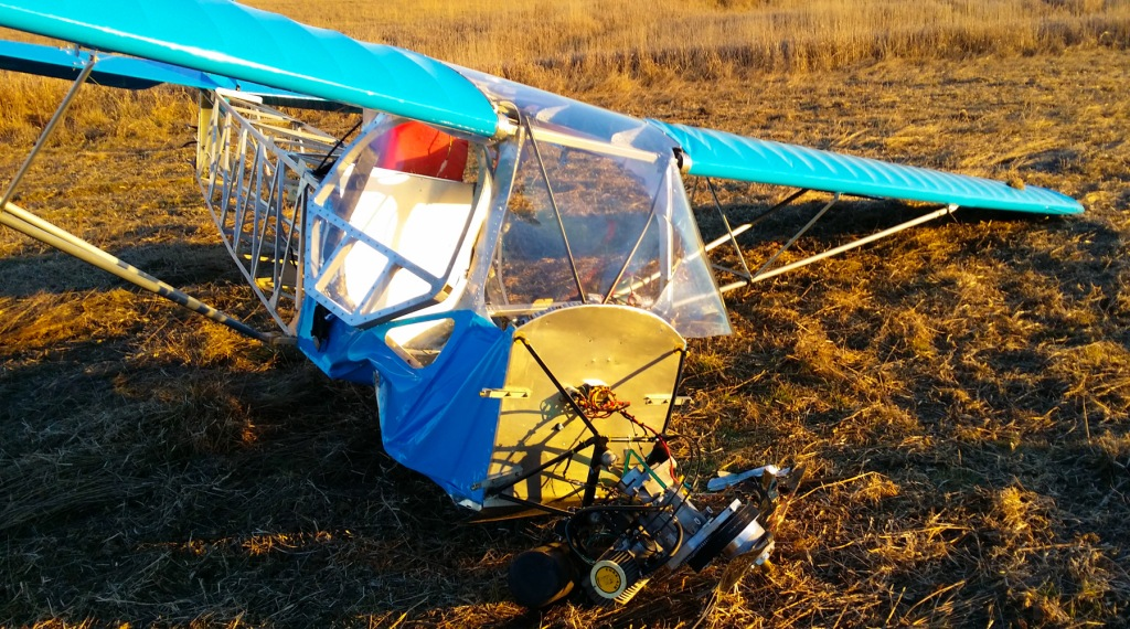 A wrecked Belite, after a stall / spin into terra firma.  The pilot survived with a scratch and two bruises.