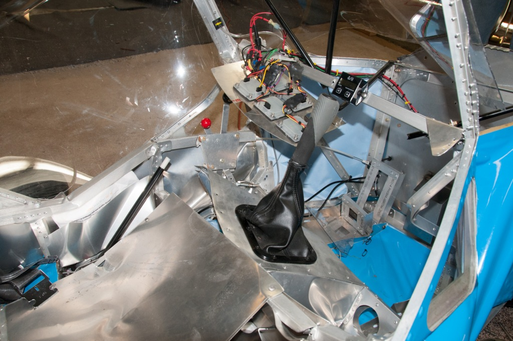 Cabin view inside a wrecked Belite ultralight airplane